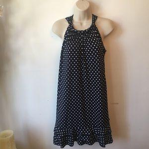 Blue, white polka dot, ruffle bottom mini dress